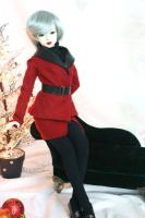 Ficon Red Wool & Black Leather Suit (SD Size)