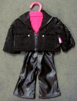 Black Leather Pants and Velour Jacket