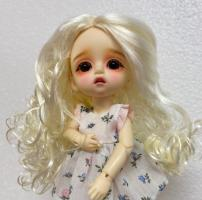 White Blonde Long Curly Wig Size 5-6