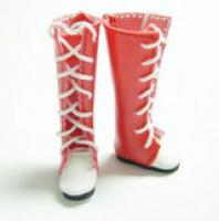 Blythe Red Boots w/White Ties 30mm