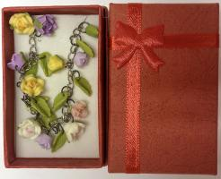"Lilac & Yellow Flowers Polymer Clay  Necklace (SD Size, 20+"")"